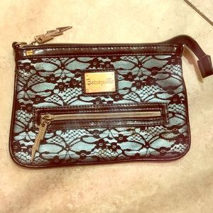 Betsey Johnson Laced Clutch/Cosmetic Bag